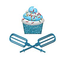 Cupcake & Crossed Beaters In Blue Photographic Print