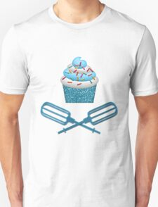 Cupcake & Crossed Beaters In Blue T-Shirt