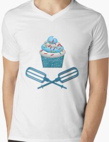Cupcake & Crossed Beaters In Blue Mens V-Neck T-Shirt