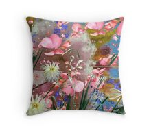 Pastel coloured flowers and leaves. Throw Pillow