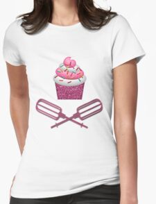 Cupcake & Crossed Beaters In Pink Womens Fitted T-Shirt
