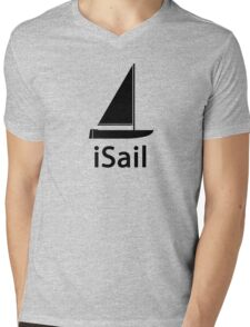 iSail BLACK Mens V-Neck T-Shirt