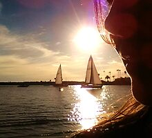 Selfie  Sailboats at Sunset  - Winter in Newport Beach by Nalinne Jones