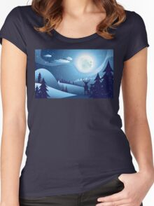 Deers in Winter Forest 2 Women's Fitted Scoop T-Shirt