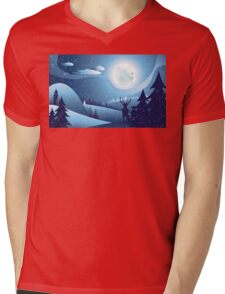 Deers in Winter Forest 2 Mens V-Neck T-Shirt