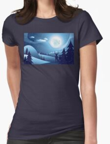 Deers in Winter Forest 2 Womens Fitted T-Shirt