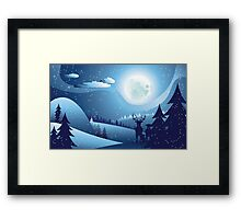 Deers in Winter Forest 2 Framed Print