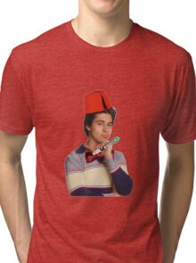 Fez wearing a fez and being the doctor  Tri-blend T-Shirt