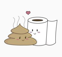 Poop & Toilet Paper (Love at First Wipe!) [Apparel & Transparent Stickers] Baby Tee