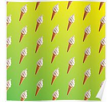 IceCream Pattern Green and Yellow  Poster