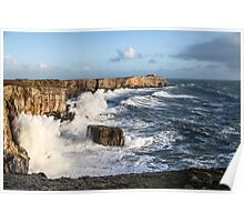 Sea Waves and Cliffs Poster