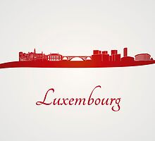 Luxembourg skyline in red by Pablo Romero