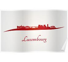 Luxembourg skyline in red Poster