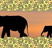 Black elephants by KatDoodling
