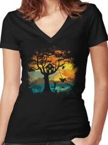 Sunset Silhouette Women's Fitted V-Neck T-Shirt