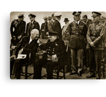 Roosevelt and Churchill after the service on board HMS Prince of Wales Canvas Print