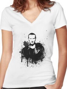 9th Doctor (Christopher Eccleston) Women's Fitted V-Neck T-Shirt