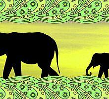Black elephants in paisley frame by KatDoodling