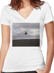 Farming With A Helicopter Women's Fitted V-Neck T-Shirt