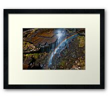 Mini rainbow at the base of treherbert waterfall Framed Print