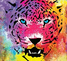 Tiger - Colorful Portrait - Paint Splatters and Stained Canvas Texture Art Prints by Denis Marsili