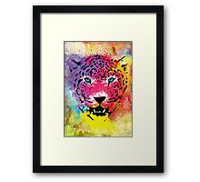 Tiger - Colorful Portrait - Paint Splatters and Stained Canvas Texture Art Prints Framed Print