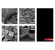 Gear, Bricks, Freestone wall and wheel handle Photographic Print