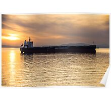 Sunset Freighter Poster