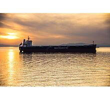 Sunset Freighter Photographic Print