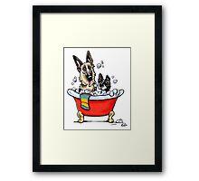 German Shepherd & Boston Terrier in the Bath Framed Print