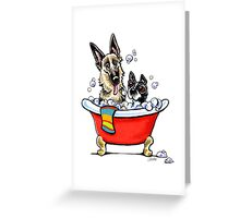 German Shepherd & Boston Terrier in the Bath Greeting Card