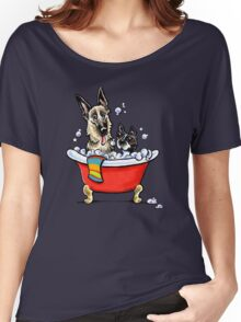 German Shepherd & Boston Terrier in the Bath Women's Relaxed Fit T-Shirt