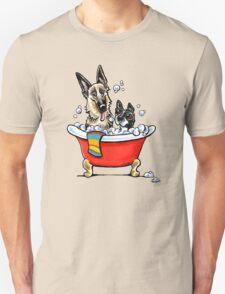 German Shepherd & Boston Terrier in the Bath Unisex T-Shirt