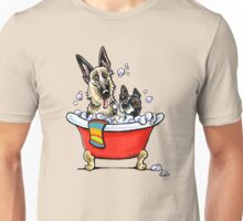 German Shepherd & Boston Terrier in the Bath Unisex T-Shirt