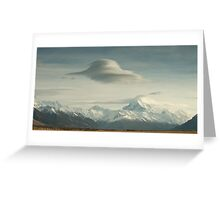 Lower Tasman Valley New Zealand - Lenticular clouds Greeting Card