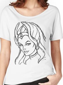 She-Ra Princess of Power - Looking Left - Black Line Art Women's Relaxed Fit T-Shirt