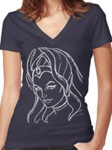 She-Ra Princess of Power - Looking Left - White Line Art Women's Fitted V-Neck T-Shirt