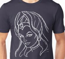 She-Ra Princess of Power - Looking Left - White Line Art Unisex T-Shirt