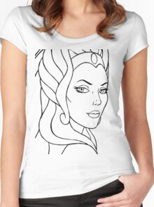 She-Ra Princess of Power - Looking Over Shoulder - Black Line Art Women's Fitted Scoop T-Shirt