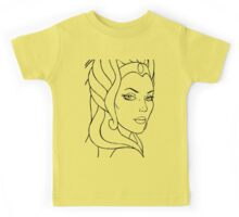 She-Ra Princess of Power - Looking Over Shoulder - Black Line Art Kids Tee