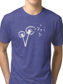 Dandylion Flight - white silhouette Tri-blend T-Shirt