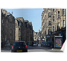 Cars and buildings on a street in Edinburgh Poster