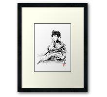 Geisha Geiko maiko young girl Kimono Japanese japan woman sumi-e original painting art print Framed Print
