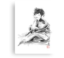 Geisha Geiko maiko young girl Kimono Japanese japan woman sumi-e original painting art print Metal Print
