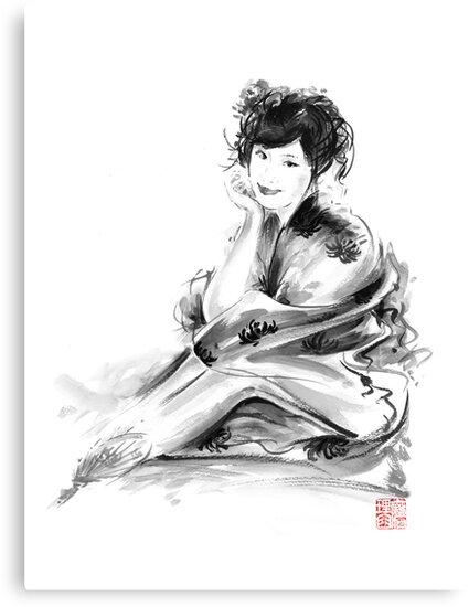Geisha Geiko maiko young girl Kimono Japanese japan woman sumi-e original painting art print by Mariusz Szmerdt