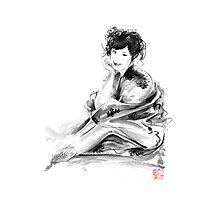 Geisha Geiko maiko young girl Kimono Japanese japan woman sumi-e original painting art print Photographic Print