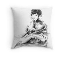 Geisha Geiko maiko young girl Kimono Japanese japan woman sumi-e original painting art print Throw Pillow