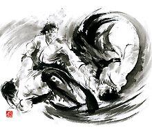 Aikido randori fight popular techniques martial arts sumi-e samurai ink painting artwork by Mariusz Szmerdt
