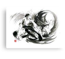 Aikido randori fight popular techniques martial arts sumi-e samurai ink painting artwork Metal Print