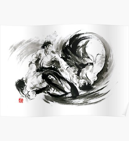 Aikido randori fight popular techniques martial arts sumi-e samurai ink painting artwork Poster